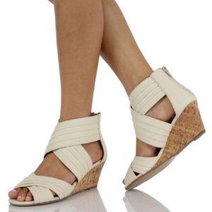 Lawson Beige Canvas Cork Wedge Sandals 7.5